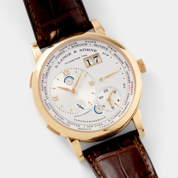 A. Lange & Söhne Lange 1 Time Zone Pink Gold with a power reserve indicator
