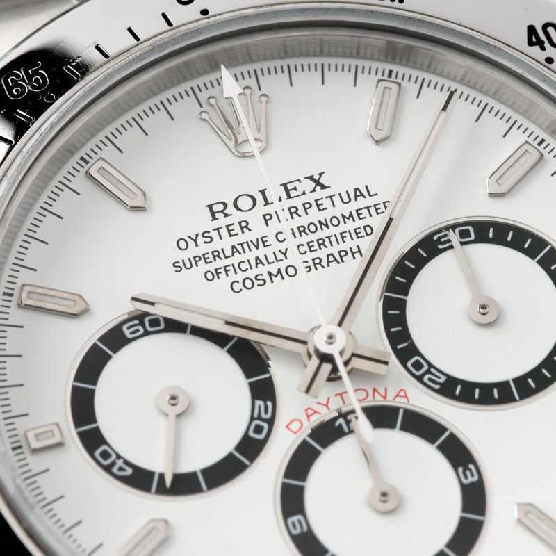 Rolex Daytona Steel 16520 White Dial T-Series dial and hands details, tritium