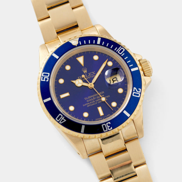 Rolex Submariner Date Purple Dial Yellow Gold 16618
