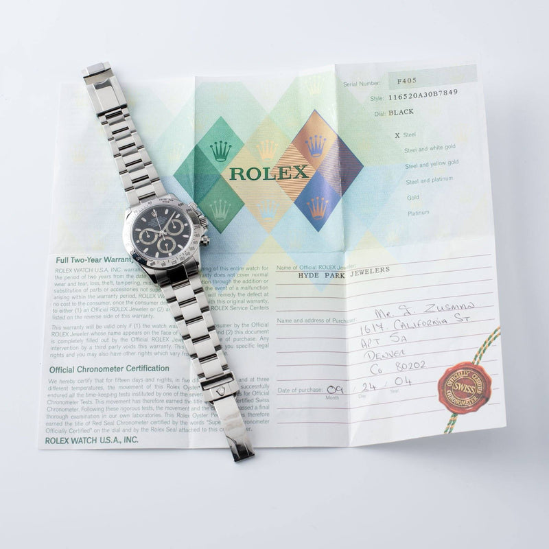 Original papers Rolex Daytona Steel 116520 Black Dial Box and Papers  on Oyster bracelet