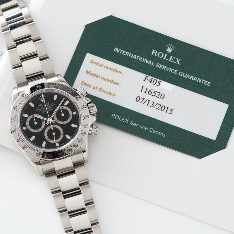 Rolex Daytona Steel 116520 Black Dial Box and Papers set  with Rolex service papers