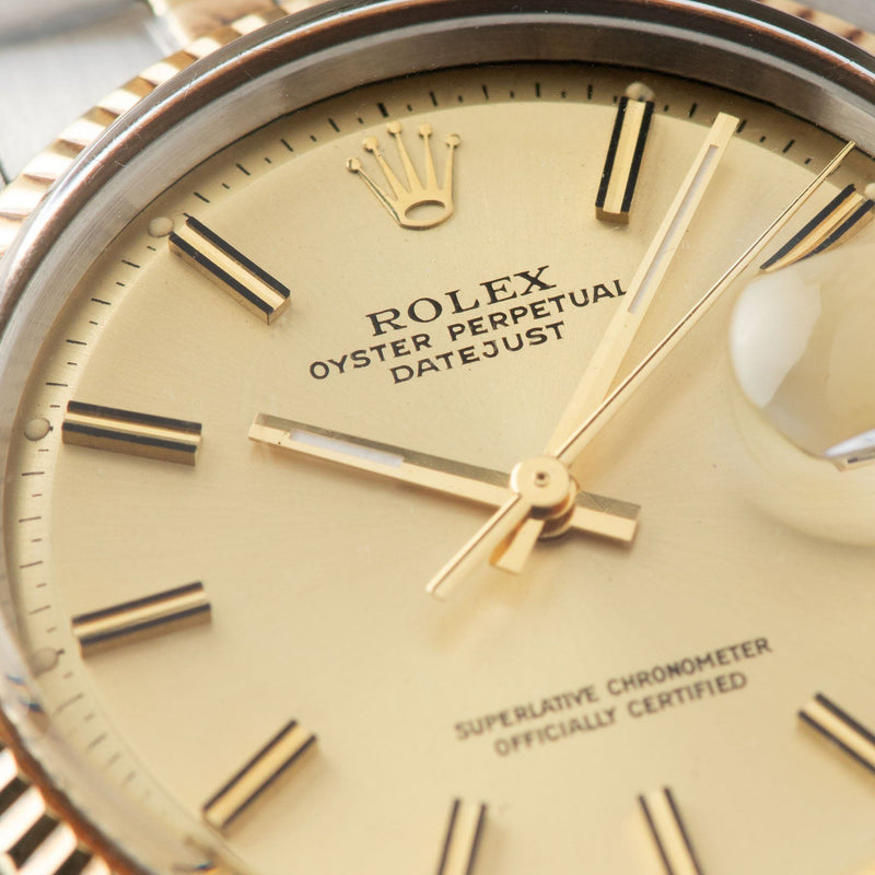 Rolex Datejust Steel and Gold 1601 Champagne Dial With Papers