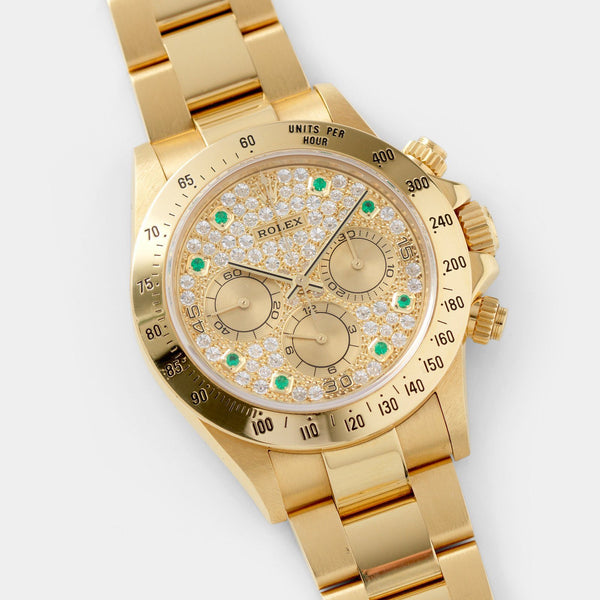 Rolex Cosmograph Daytona 16528 Pave Dial with Emerald Hours