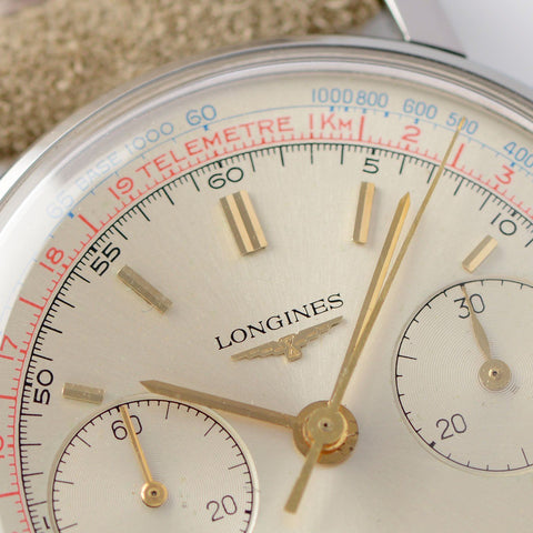 Longines 7412 Chronograph Watch 1965 Box and Papers