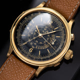 Eberhard Spilt Seconds Chronograph Yellow Gold Case Gilt Dial