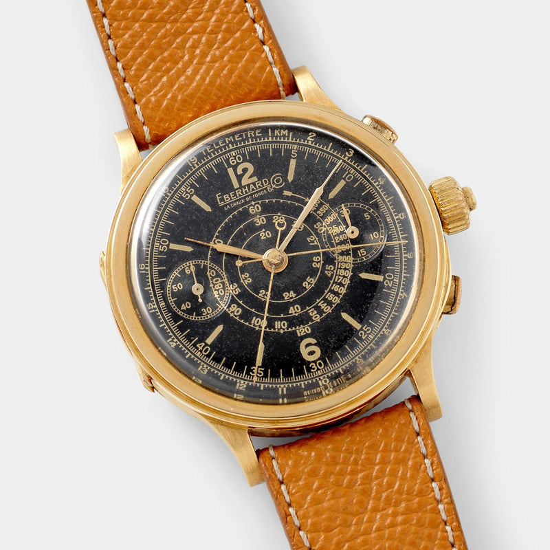 Eberhard Split Seconds Chronograph Yellow Gold Case Gilt Dial
