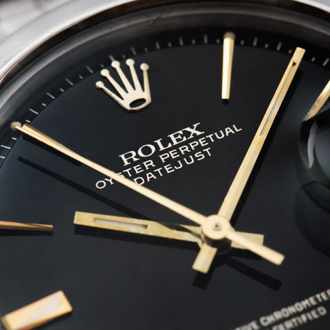 Rolex Datejust Glossy Gilt Black 'Door Stop' Dial 1600