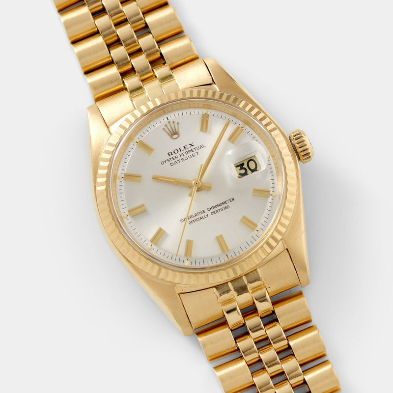 Rolex Datejust 1601 Silver Dial with 36mm 18kt yellow gold case