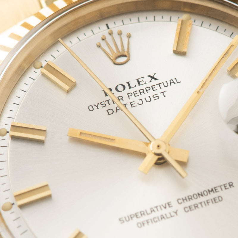 Rolex Datejust Yellow Gold 1601 Silver Dial with large hour markers