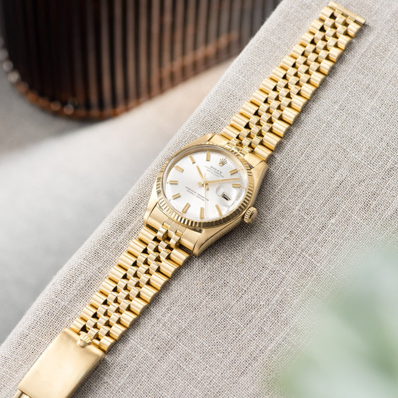 Rolex Datejust Yellow Gold 1601 Silver Dial with a yellow gold Jubilee bracelet