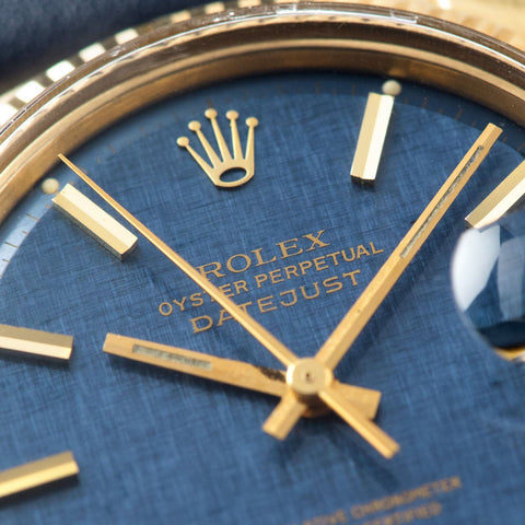 Rolex Datejust Yellow Gold 1601 Blue Linen Dial