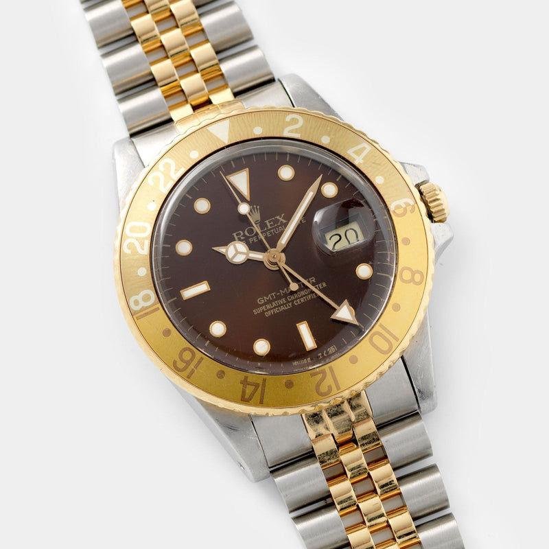 Rolex 16753 Brown Dial GMT Master Root Beer  on jubilee bracelet