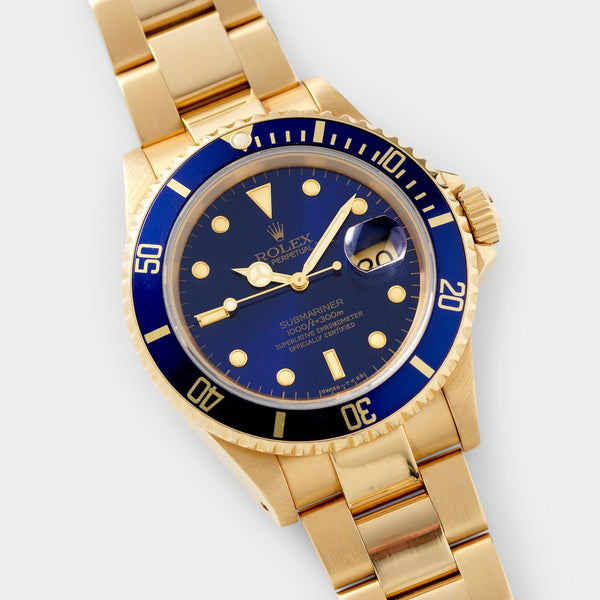 Rolex Submariner Date Purple Dial Yellow Gold 16618 Box and Papers