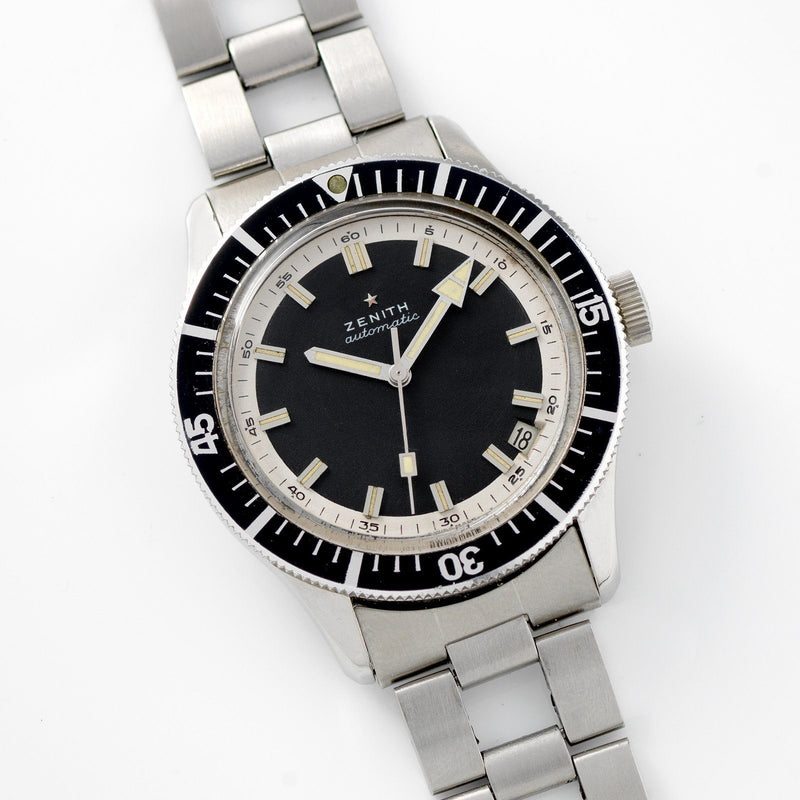 Zenith Diver Black Dial  ref A3630 on Gay Freres Ladder Bracelet