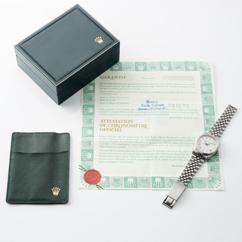 Rolex Datejust Reference 16030 White Buckley Dial Box and Papers