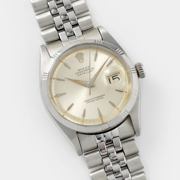 Rolex Datejust Silver Soleil Dial Rare Early Bamboo 1603