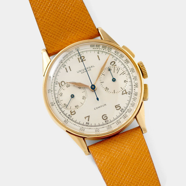 Universal Geneve Compur Chronograph 18kt Gold Ref 12430