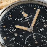 Wittnauer 242T Matte black Dial Steel Chronograph with Cool lollipop stopwatch hand