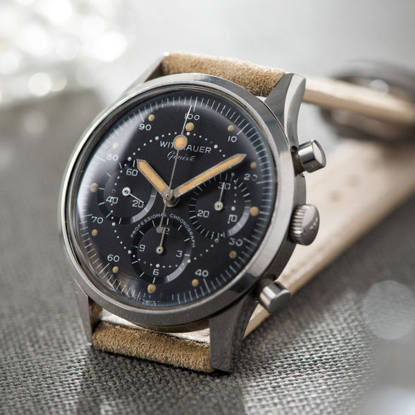 Wittnauer 242T Matte black Dial Steel Chronograph