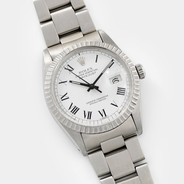 Rolex Datejust Reference 16030 White Buckley Dial on a Oyster bracelet