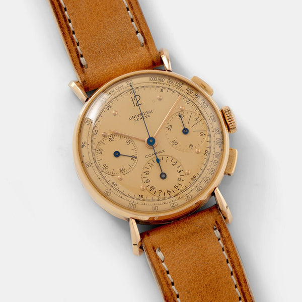 Universal Geneve Chronograph Tri Compax 18kt Rose Gold Chronograph