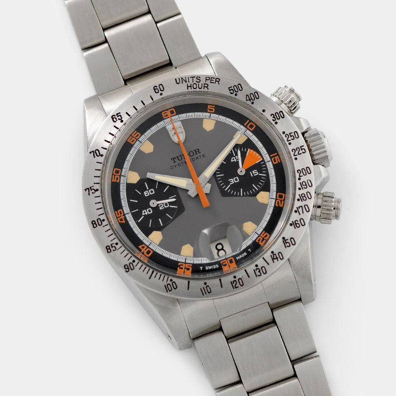 Tudor Home Plate Chronograph Reference 7032 with brushed-steel tachymeter bezel