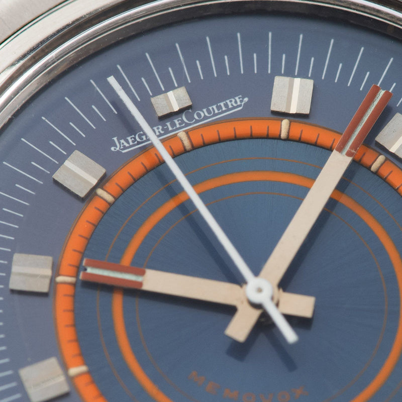 Jaeger Lecoultre Memovox Ref E873 Speed Beat with striking orange concentric circles