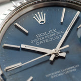Rolex Datejust Blue Soleil Dial 16030 with silver print
