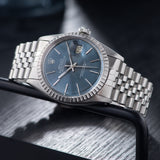 Rolex Datejust Blue Soleil Dial 16030 with a quick-set date movement
