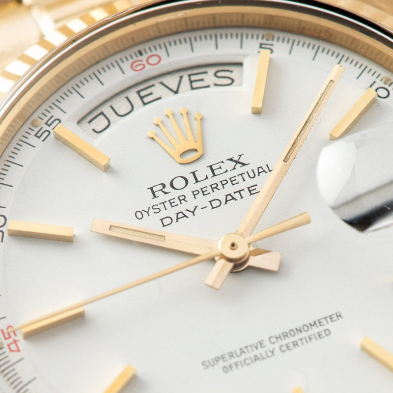 Rolex Day Date White Dial Red Quarters 1803