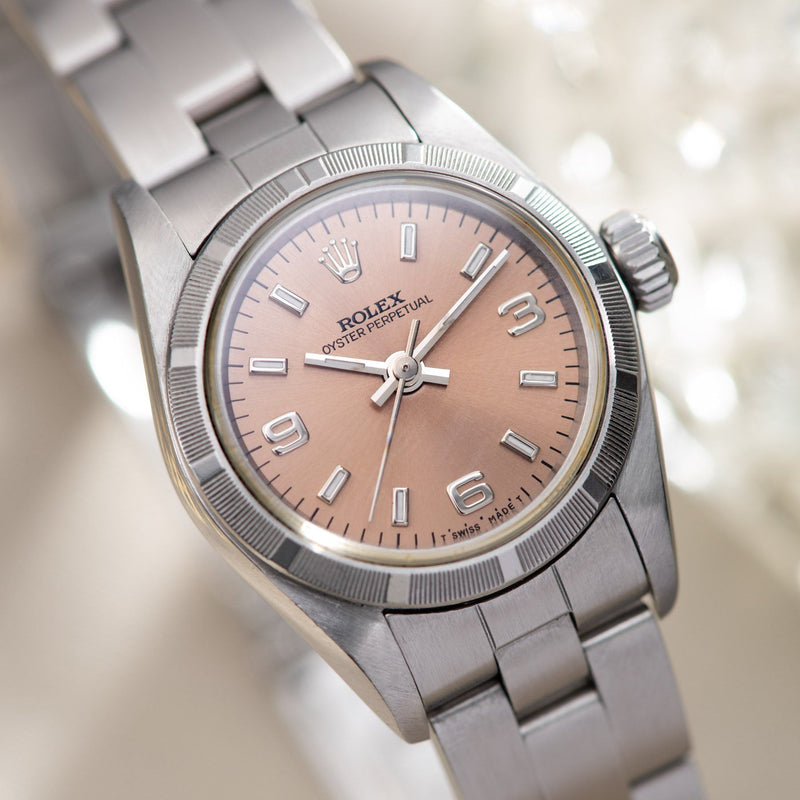 Rolex Oyster Perpetual Lady Ref 67230 Salmon Colour Explorer Dial