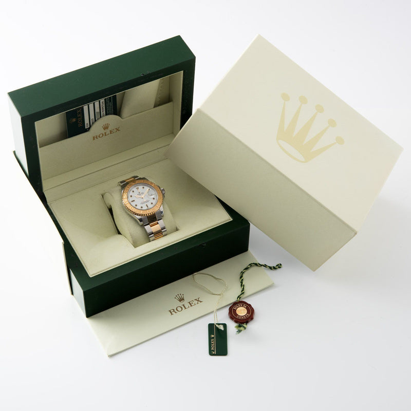 Rolex Yachtmaster Steel and Gold 16623 Onyx Markers with box and papers