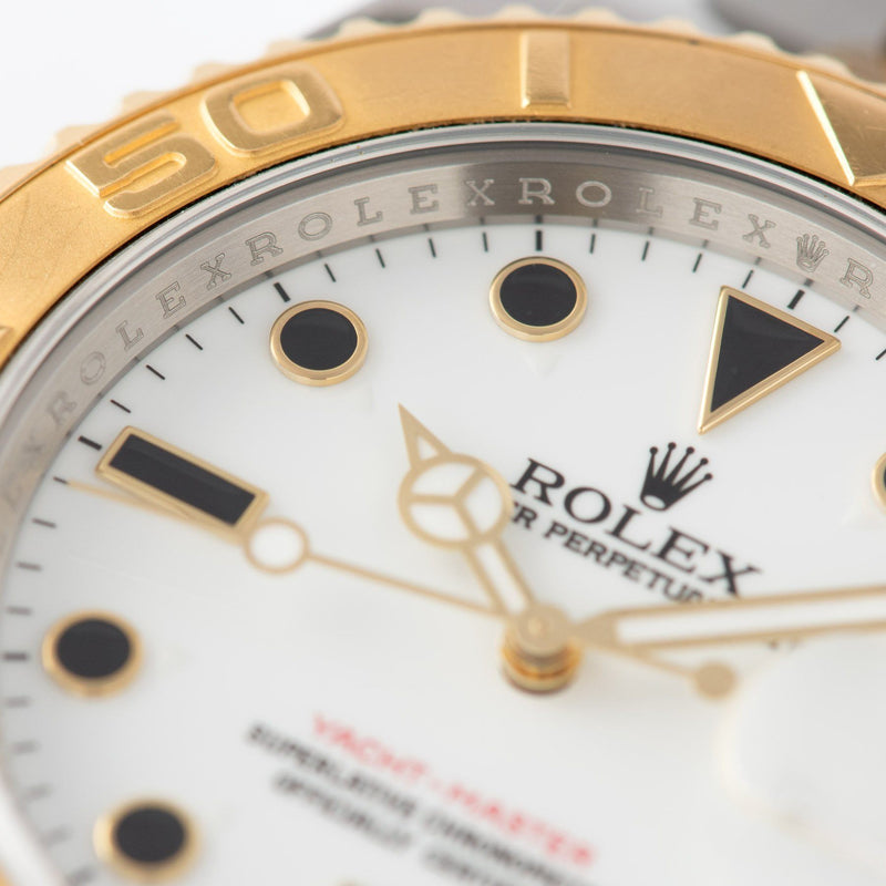 Rolex Yachtmaster Steel and Gold 16623 Onyx Markers with triangular lume plots