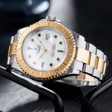 Rolex Yachtmaster Steel and Gold 16623 Onyx Markers with  yellow gold bezel