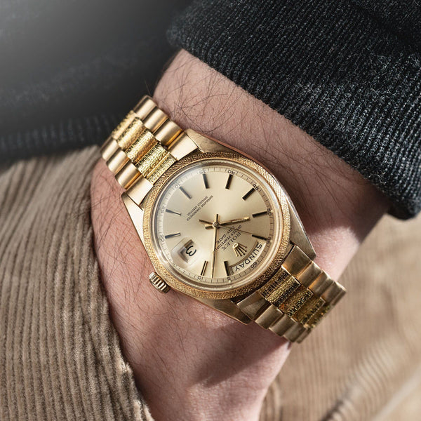 Rolex Day Date Yellow Gold Morellis Finish 1811 on Morelli finish bracelet
