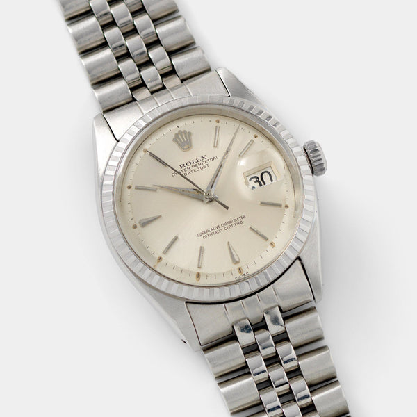 Rolex Datejust Silver Swiss Only Dial 1603 with fluted bezel