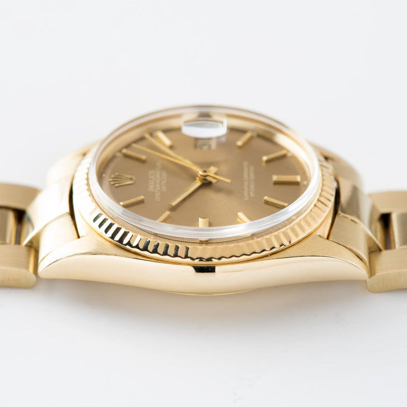 Rolex Datejust 14kt Yellow Gold 1601 Tobacco Dial