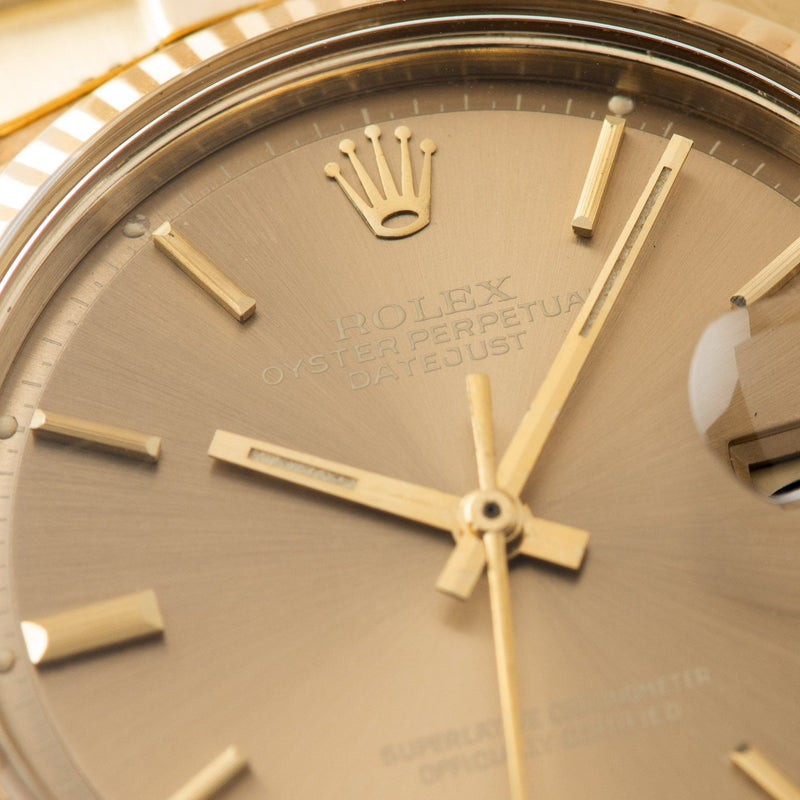 Rolex Datejust 14kt Yellow Gold 1601 Tobacco Dial with Brown soleil sigma dial