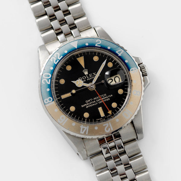 Rolex 1675 Gilt Dial GMT Master Faded fat font Insert