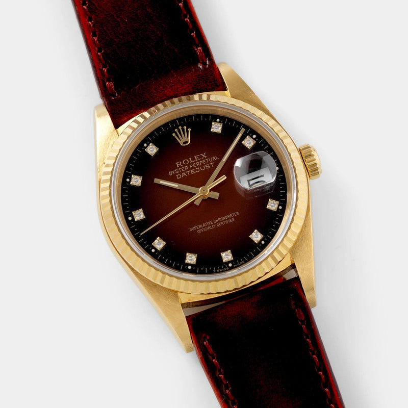 Rolex Datejust 16018 Red Dégradé Dial with fluted bezel