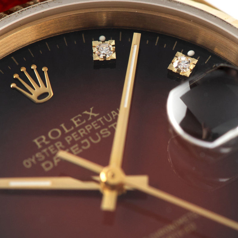 Rolex Datejust 16018 Red Dégradé Dial with brilliant-cut diamond hour markers