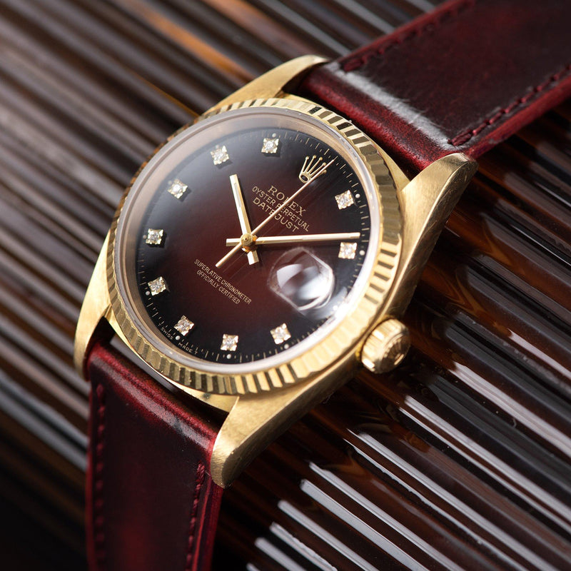 Rolex yellow gold Datejust 16018 Red Dégradé Dial