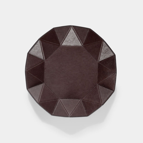 Washed Brown Diamond Leather Tray