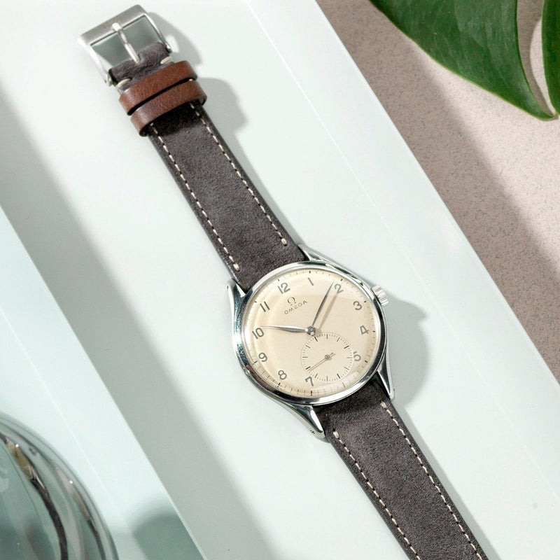 Omega Refined Dark Grey Suede Watch Strap