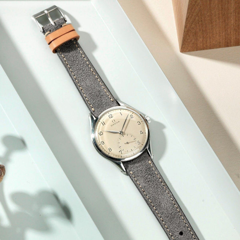 Refined Rugged Grey Leather Watch Strap