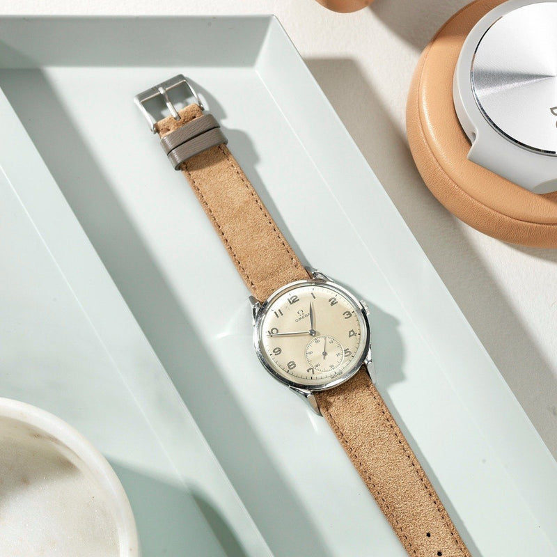 Omega Refined Light Brown Suede Watch Strap