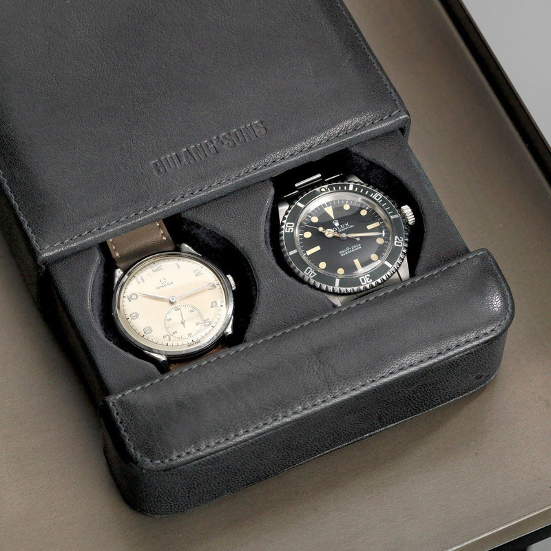 Washed Grey Leather 2 Watch Slider Box