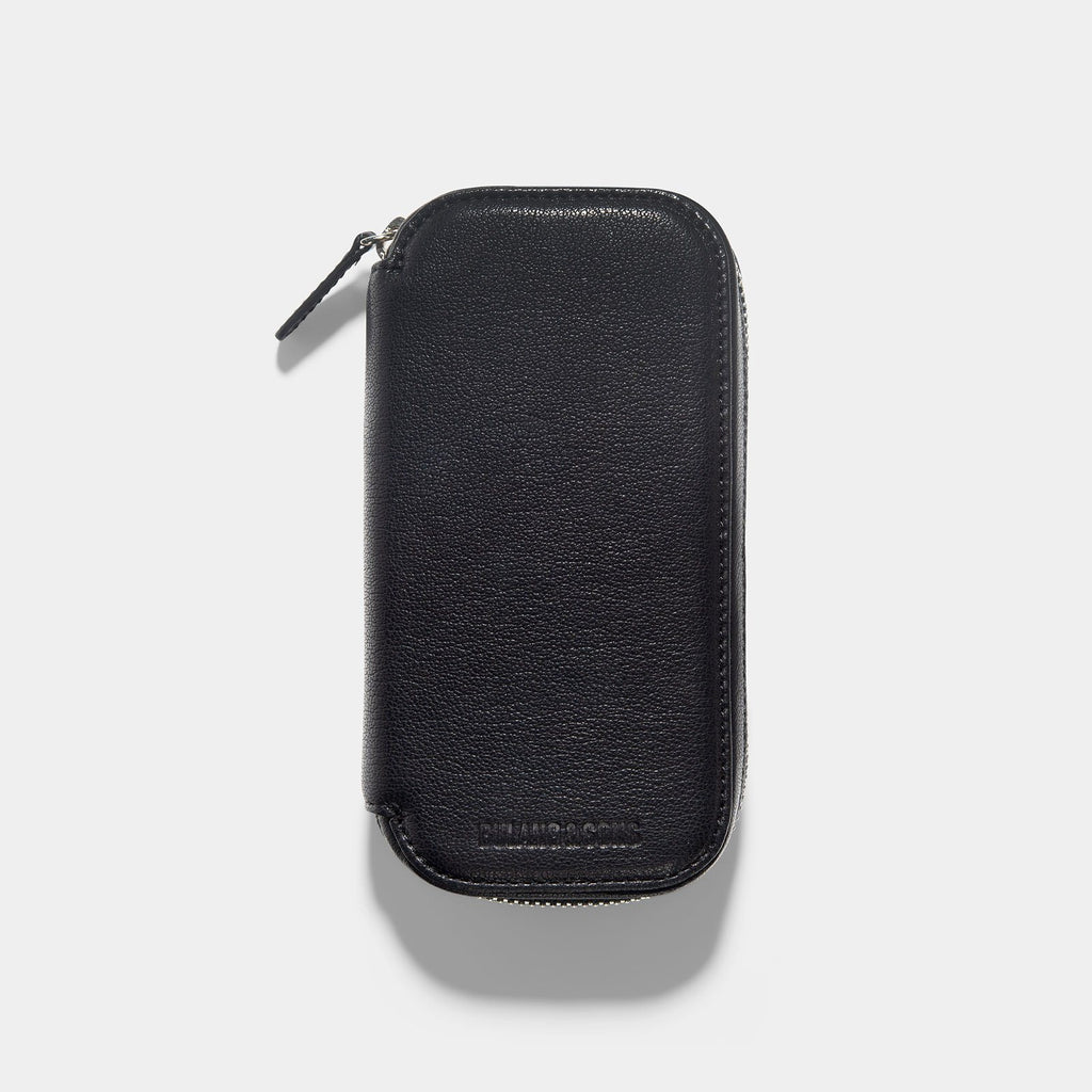 Black 2 Watch Leather Zip Pouch