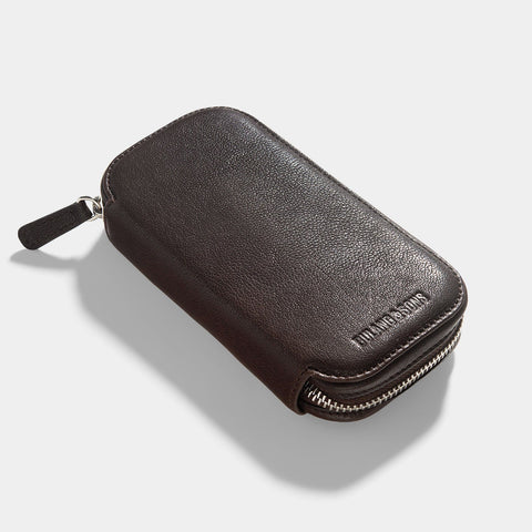 Dark Brown 2 Watch Leather Zip Pouch