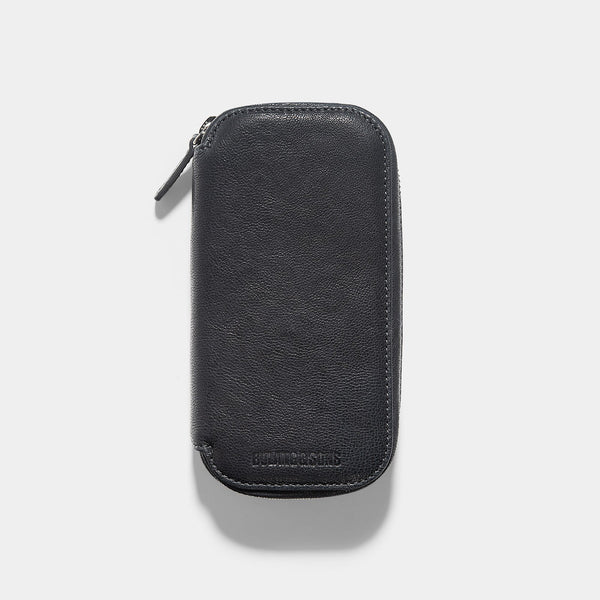 Washed Grey 2 Watch Leather Zip Pouch